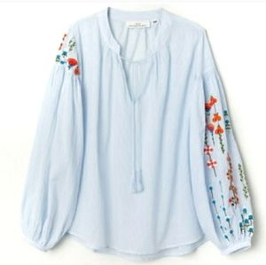 H&M Seersucker & Floral Embroidered Peasant Blouse